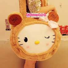 biscuits Hello Kitty shoulder bag, large capacity cartoon KT cat hand Messenger plush toy gifts(China)