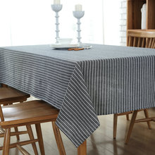 European Simple Tablecloth Striped Table Cloth High Quality Cotton Linen Fabric Dustproof Table Cover for Bar Restaurant