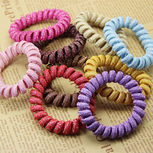 20pcs Middle Size Hair Scrunchie Popular Korean Candy Colored Telephone Wire Style Elastic Band Rope or Bracelet for Women