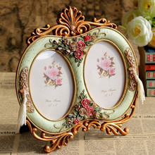 Vintage Decoration European Photo Frames Carving Rose Double Lattice Oval Resin Photo Frame Gift(China)