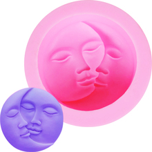 F1157 Sun Moon Lovers Valentine's Kiss Soap Fondant Silicone 3D Cake Mold Cupcake Decoration Baking Molds Jelly Sugar Candy(China)