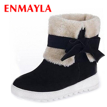 ENMAYLA Fashion Christmas Women Warm Fur Red Snow Boots Winter Flats Cute Bow Shoes Woman Platform Ankle Boots Women Size 43