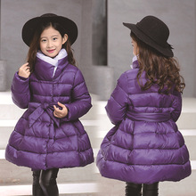 Winter Jackets Girls Bow Waistband Russia Kid Thick Warm Princess Jacket Coats Children Girl Outdoor long Parka Coat Clothes