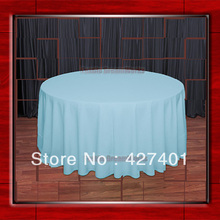 "Hot Sale 108""Rround Aqua 210GSM Polyester plain Table Cloth For Wedding Events & Party Decoration"