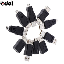 EDAL 10 Pcs OTG 5 Pin F/M Changer Adapter Converter USB Male To Female Micro Mini Plug For Computer Tablet Pc Mobile Phone(China)