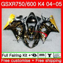 Bodys For SUZUKI GSXR 600 R600 GSXR 750 04 05 K4 GSX-R750 Gold flames 30SH15 GSX-R600 GSXR750 04 05 GSXR600 2004 2005 Fairings(China)