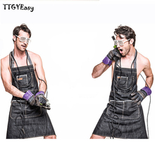 2017 Hot Sale Aprons Denim Cotton Cafe Cowboy Uniform Unisex Aprons for Woman Men's Kitchen Chef Waiter Cooking pinafore WQ010