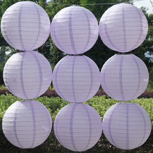 Hot 2017 New (4~16)Inch China shallow purple paper lanterns decorative backdrop wedding supplies wedding party celebration DIY(China)