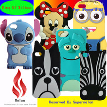 Cheapest 3D Cute Cartoon Stitch Minnie Minions silicone Soft Cover Phone Cases For iPhone 5 5G 5S