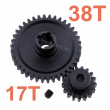 2pcs Metal WLtoys A979 Differential Main Gear 38T with Motor Pinion Gear 17T For 1/18 Monster Truck Off Road Car Parts(China)