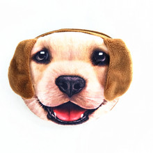 M015 2017 Promotion 3D Oval Animal Prints Mini Coin Bags Women Storage Pouch Cute Dog Wallets Kids Coin Purses