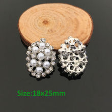 Newest Mini Order 18x25mm 10 Pieces Metal Rhinestone Button With Pearl Hair Flower Center Wedding Embellishment Scrapbooking(China)