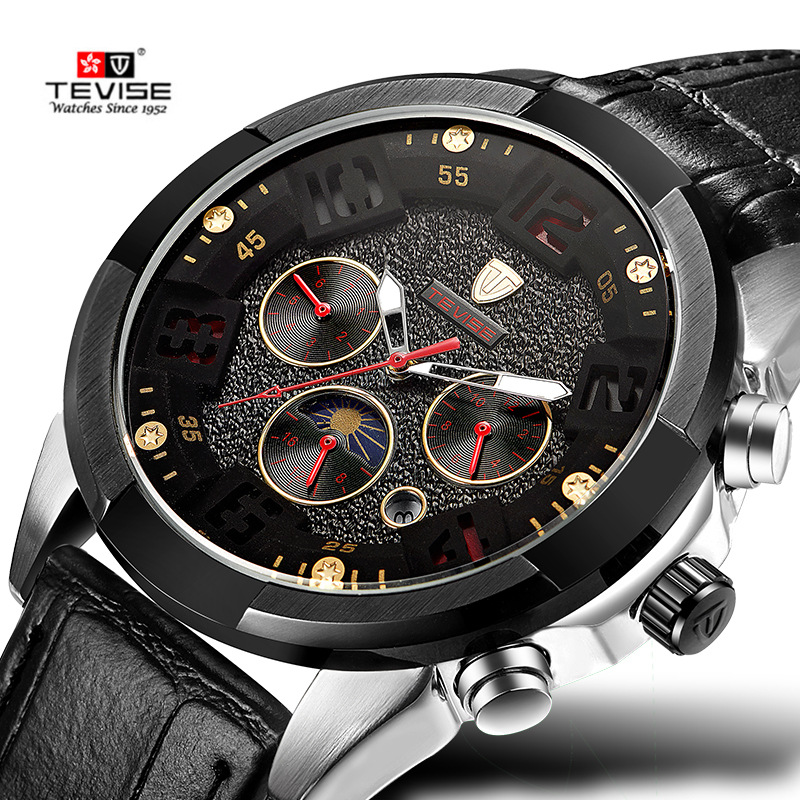TEVISE Mens Watches Top Brand reloj hombre Automatic Watch Calendar Moon Phase Male Clock Black Leather Mechanical Wristwatch<br>