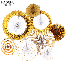 HAOCHU 8pcs/set European Style Gold Silver Paper Fans Decoration Party Special for Wedding Baptism Decor Home&Garden Decoration(China)