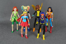 6pcs DC Super Hero Girls Batgirl  Poison Ivy Bumble Bee Harley Quinn Action figure Doll Toy