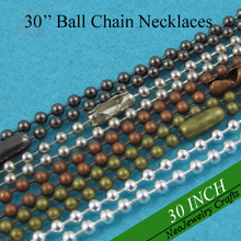 76cm Ball Chain Necklace, 30 Inch Ball Chain 2.4mm Thick - Silver, Bronze, Copper, Antique Silver, Gun Metal, Black(China)