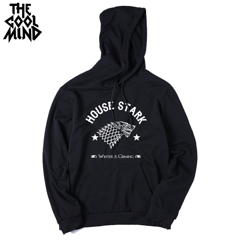 THE COOLMIND Top quality cotton blend game of thrones men hoodies casual winter is coming house of stark men sweatshirt with hat 8