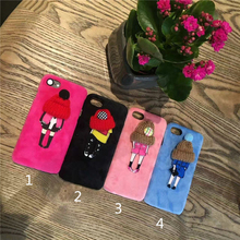 Korea Super Fashion Pink 3D Wool Hat Girl Flannelette Plastic Mobile Phone Case Cover For iphone 6s 7 6plus 7plus Fundas Coque