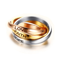 Vnox LOVE HOPE FAITH Wedding Rings Stainless Steel Three Color Rings for Women