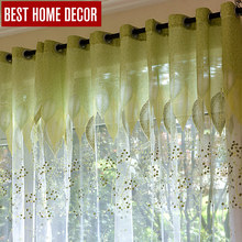 BHD sheer tulle window curtains for living room the bedroom the kitchen modern tulle curtains green leaves fabric blinds drapes