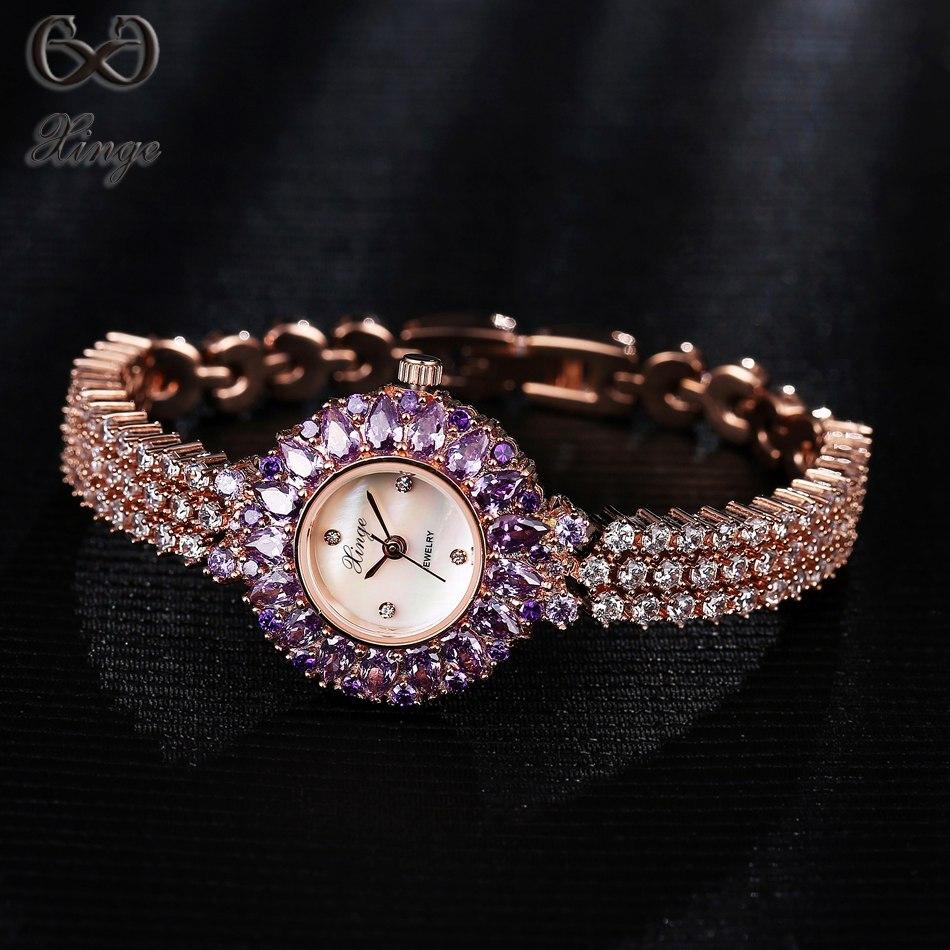 Xinge Brand 2017 High Quality Women Quartz-watches Crystal Zircon Bracelet Ladies Watches Luxury Fashion Ladies Gold Clock <br>