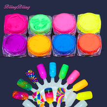 8 Boxes Neon Pigment Nail Powder Dust Ombre Nail Glitter Gradient Glitter Iridescent Acrylic Powder Colorful Nail Art Decoration