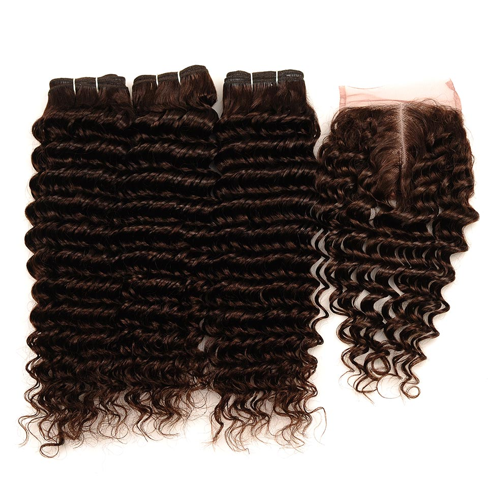 Brown #4 Brazilian Deep Wave Hair 3 Bundles With Closure Deal Pinshair Human Hair Weave Bundle With Middle Part Closure Non Remy (26)