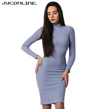 Buy JYConline Vintage Knitted Dress Women 2017 Autumn Long Sleeve Bodycon Dress Vestidos Turtleneck Fitness Knee-length Sexy Dresses for $10.82 in AliExpress store