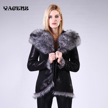 Ms Winter Faux Leather 100% Factory Direct Supply New Fur Coat Women sheep fake Fur one Artificial fox hair Large size Female(China)