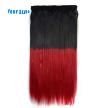 Your Style 22'' Ombre Colored  Hair Piece Natural Clip In Hair Extensions 10'' Width 5 Clips Synthetic Straight Hair Hairpiece