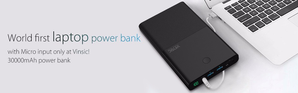 Vinsic M50000 Portable Power Bank 20000mAh External Battery Charger Ultra Slim Dual USB for iPone X 8 8 Plus Xiaomi Samsung