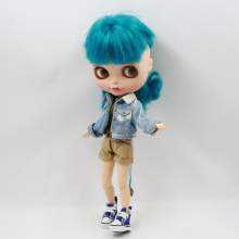 Blyth doll A set of denim coat with pants and white shirt suit for 1/6 Joint Doll(China)