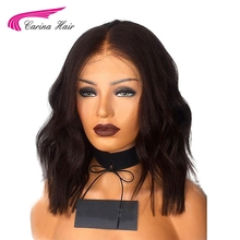 Carina Full Lace Hair Wigs For Black Women natural Color Peruvian Remy Human Hair 150% Short Wigs with Pre-Plucked Hairline(China)