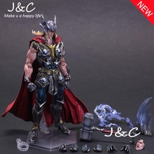 Play Arts Kai PA Thor Figure Super Hero Hammer PA 27cm PVC Action Figure Doll Toys Kids Gift Brinquedos