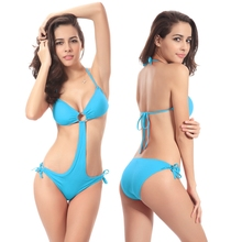 Model Vintage Style 2017 Ringed center Removable padding One Piece Swimming suit for women Dropshipping(China)
