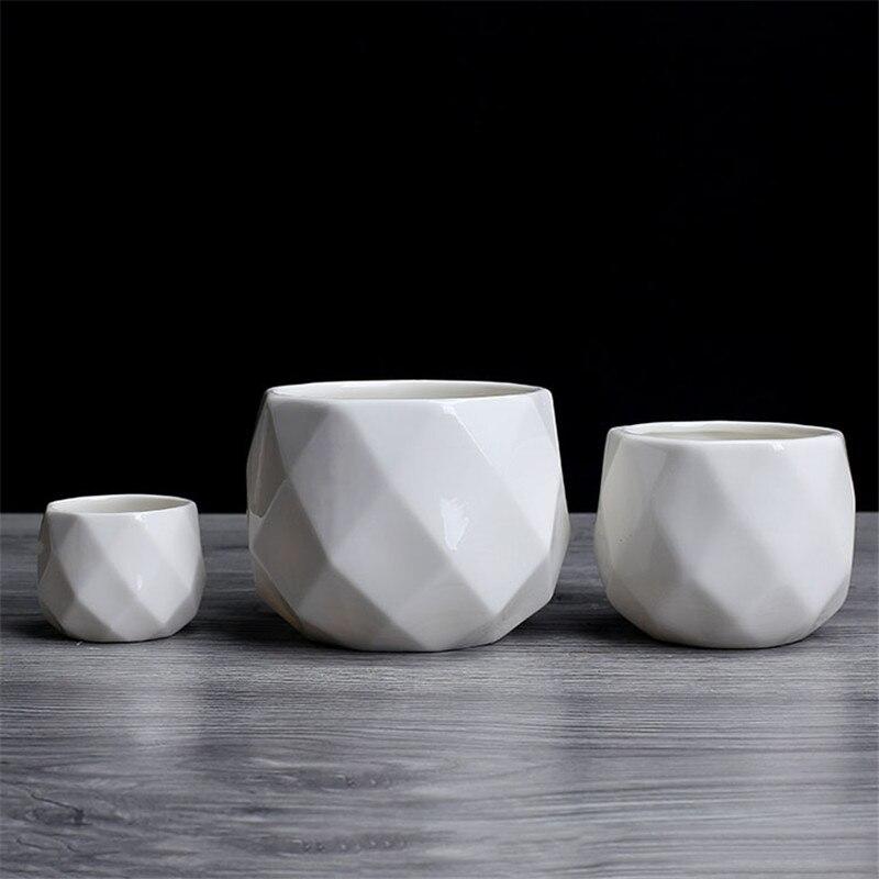 Creative Ceramic Diamond Geometric Flowerpot Simple Succulent Plant Container Green Planters Small Bonsai Pots Home Decoration3