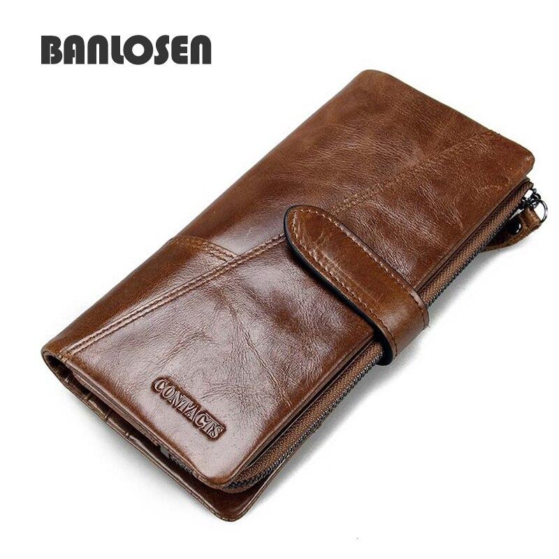 Genuine leather women men wallets 2017 vintage famous brand credit card holder Purse bag Coin Pockets zipper long clutch<br><br>Aliexpress