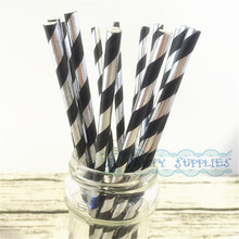 200pcs Foil Silver with Black Stripe Paper Straws Eco Friendly Biodegradable Paper Drinking Straws Wedding Reception Decor