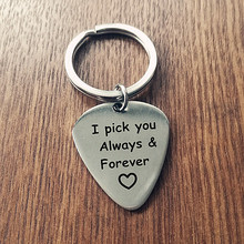 Custom Keychain I Pick You Always Forever, Fathers Day Gift for Him Men Stainless Steel Guitar Picks Pendant Dropshipping(China)