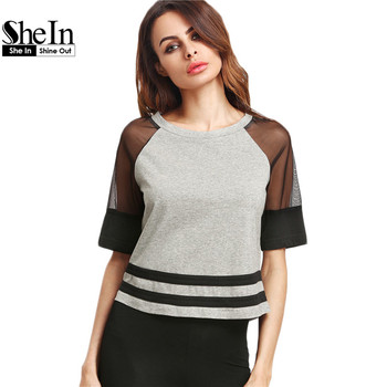 SheIn Women Tops Summer 2017 Women Clothing Heather Grey Contrast Mesh Raglan Sleeve Striped Hem Casual T-shirt