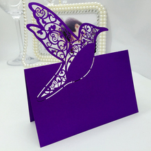 120PC/lot  43Color  Laser Cut  Bird Party Table Name Place Cards Wedding Invitations Favor Centerpieces Wedding Decor Casamento