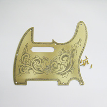 Free shipping hand engraved custom pattern or words classical grass pattern brass pickguard fits to tele guitars(China)