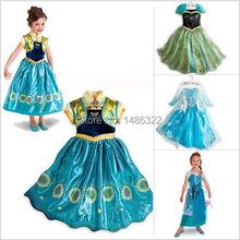 2015 Summer baby Girl Elsa Anna Dress for Party kids clothes Short Sleeve Princess Dresses girl Clothing Snow Queen Dressy