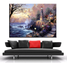 xh1309  thomas kinkade painter of light beautiful scenery paintings canvas wall decor art prints unframed