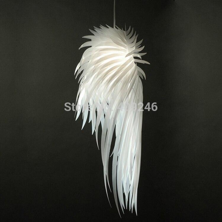 2016 Novelty White Angel Wing PP Plastic Feather Pendant Light  E27 Bulb Ceiling Lamp Bedroom Dinning Room Home Decor Lighting<br>