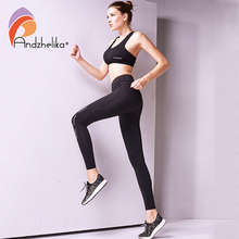 Andzhelika 2017 Women Running Pants Sexy Compression Tights Solid Hips Push Up Leggings Fitness Pants Quick Dry Elastic Trousers(China)