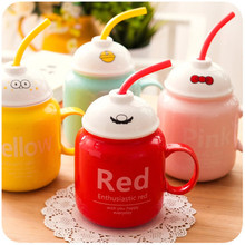Cute Ceramic Sippy Cups with Lid Spoon Lovely Kids Couples Mugs Creative Coffee Milk Cup 400ml Funny Straw Mug Xmas Gifts(China)