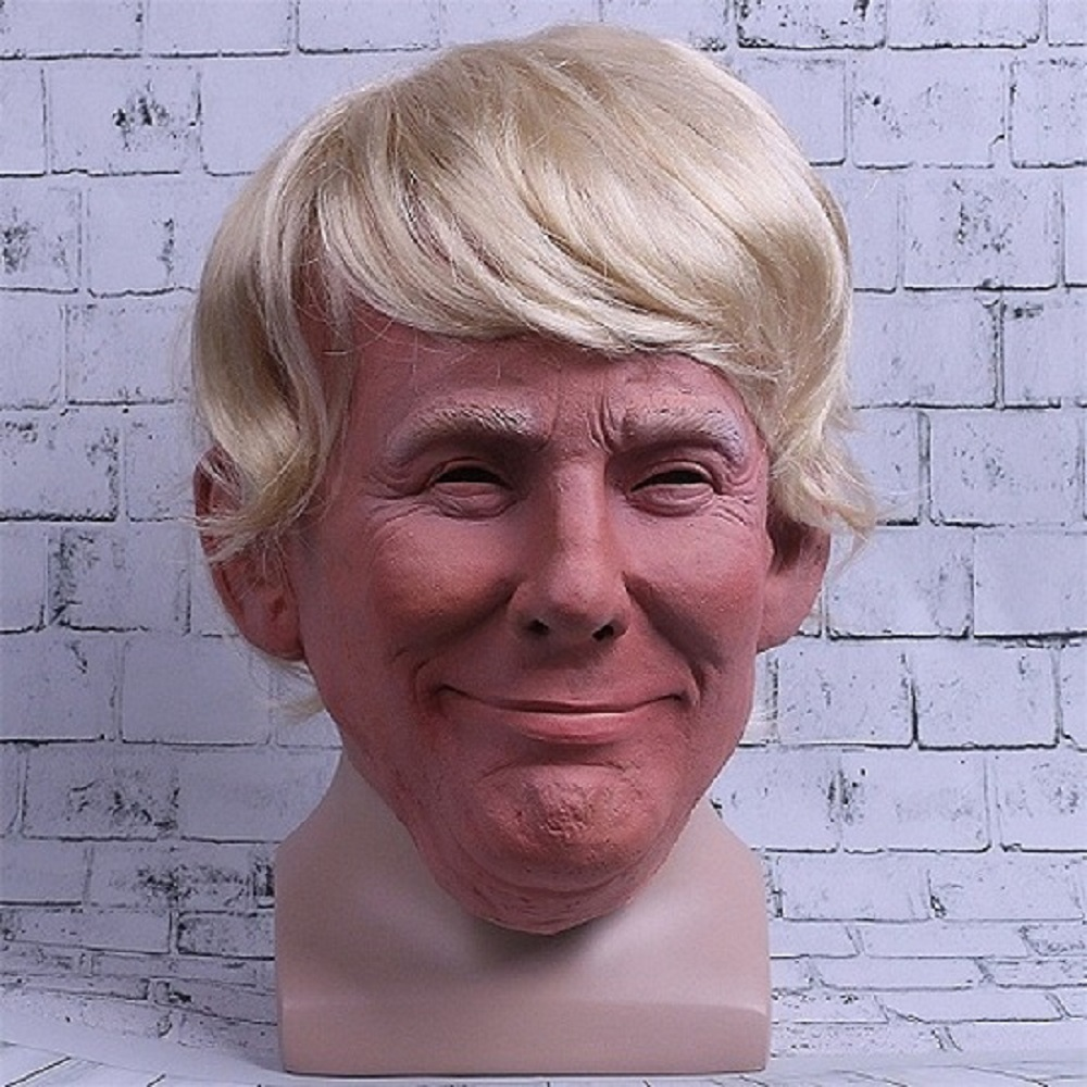 Realistic Trump Mask Putin Mask Presidential Costume Adults Halloween Deluxe Latex Full Head Donald Trump Mask with Hair (3)