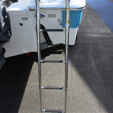 Marine Boat 4 Step Folding Ladder Stainless Steel 304 Telescope Pulley Laader(China)