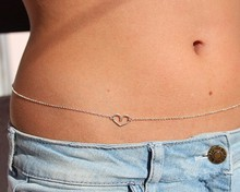Fashion hot gold silver plated sexy heart belly chain waist body jewelry for women girls ST0004